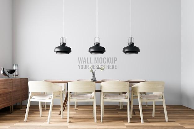 Maquete da parede da sala de jantar interior