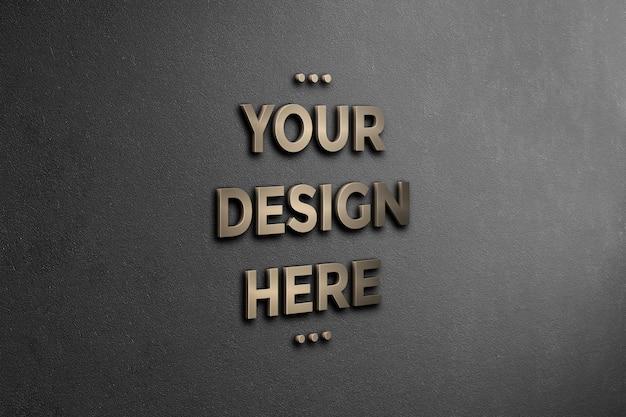 Maquete da parede do logotipo 3d