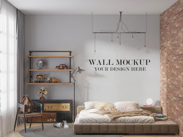Maquete da parede do quarto com design de loft atrás da cama no chão