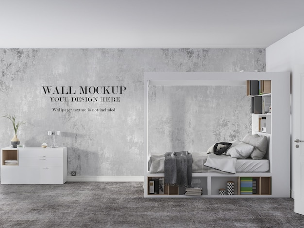 Maquete da parede do quarto com vista lateral