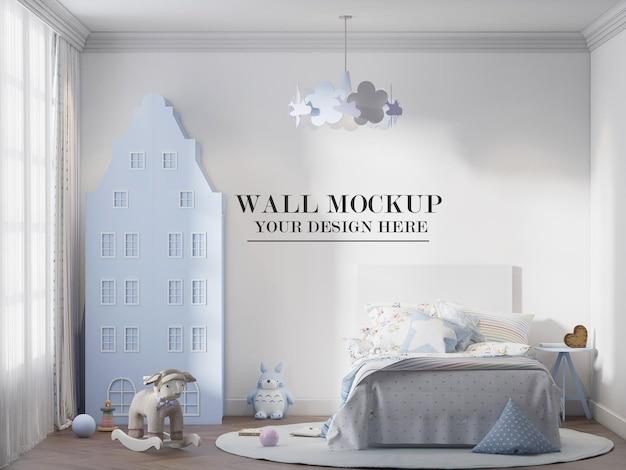 Maquete da parede do quarto infantil atrás do armário em forma de casa