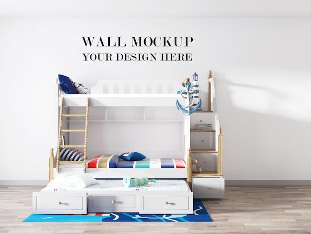 Maquete da parede do quarto infantil com cama dupla de deck 3d render