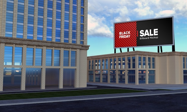 Maquete da placa do outdoor no topo do prédio com o banner de venda da black friday