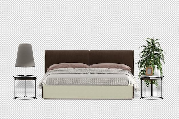 Maquete da planta da lâmpada da cama em renderização 3d isolada