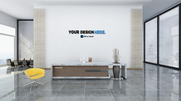 Maquete da recepção do escritório de negócios corporativos