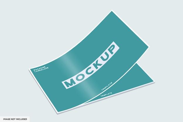 Maquete da revista da capa com vista em perspectiva
