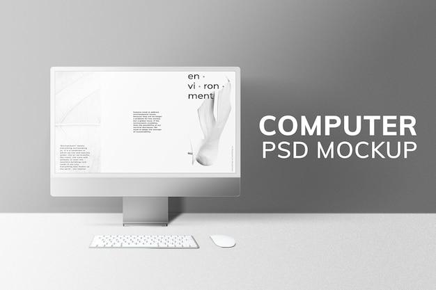 Maquete da tela da área de trabalho do computador psd cinza estilo mínimo do dispositivo digital