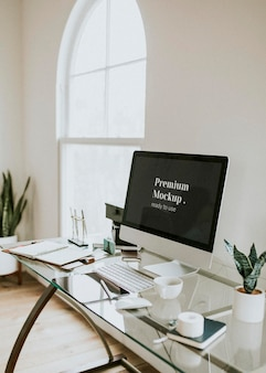 Maquete da tela da área de trabalho do computador Psd Premium