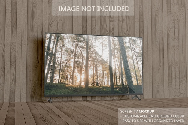 Maquete da tela da smart tv nas pranchas de madeira
