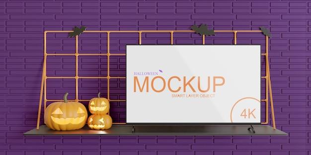 Maquete da tela da tv edição de halloween, vista frontal