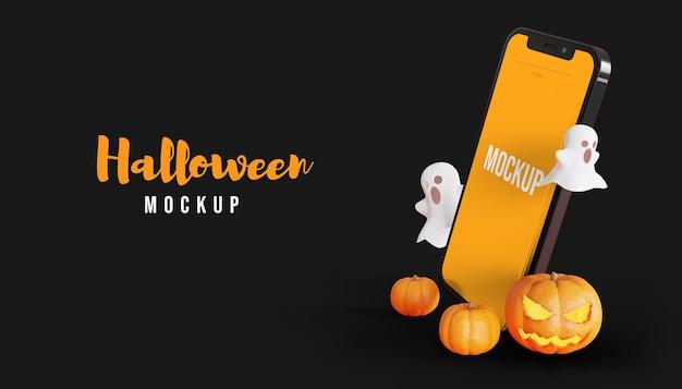 Maquete da tela do smartphone 3d de halloween com fantasma e abóbora