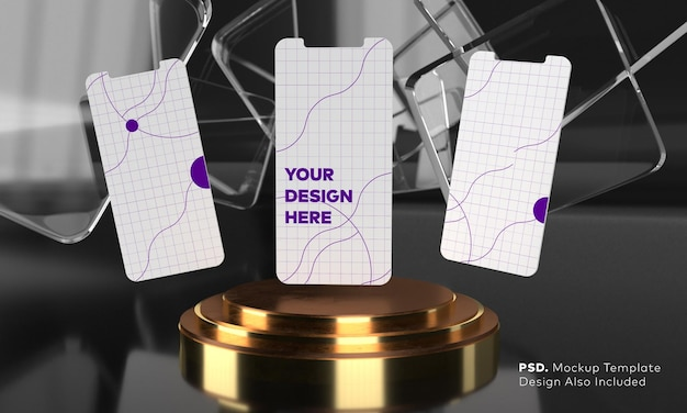 Maquete da tela do smartphone acima do pedestal do cilindro dourado triplo com tela de apresentação do produto com fundo preto por renderização em 3d