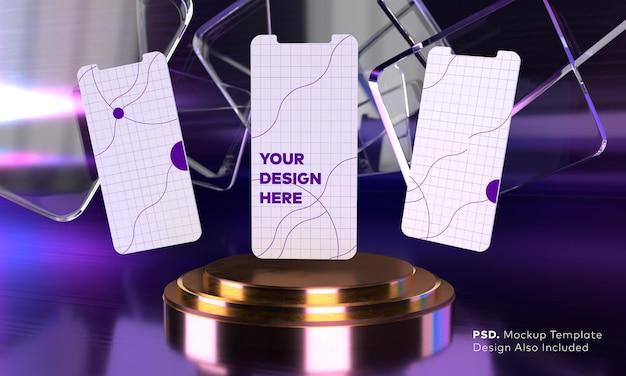 Maquete da tela do smartphone acima do pedestal do cilindro dourado triplo com tela de apresentação do produto de fundo roxo neon por renderização em 3d