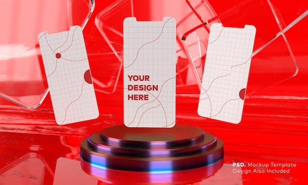 Maquete da tela do smartphone acima do pedestal do cilindro triplo de néon roxo com fundo de mármore vermelho, apresentação do produto e exibição do palco por renderização em 3d
