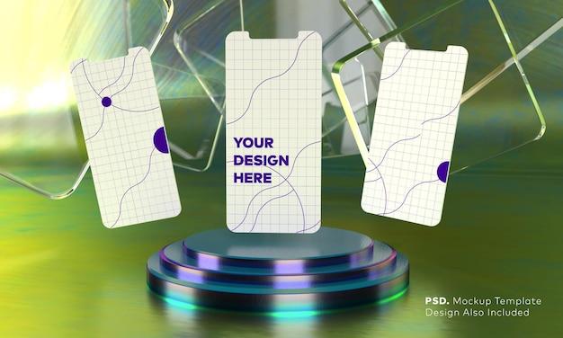 Maquete da tela do smartphone acima do pedestal do cilindro triplo neon roxo com fundo verde neon display do palco de apresentação do produto por renderização em 3d