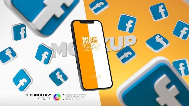 Maquete da tela do smartphone cercada por ícones do facebook