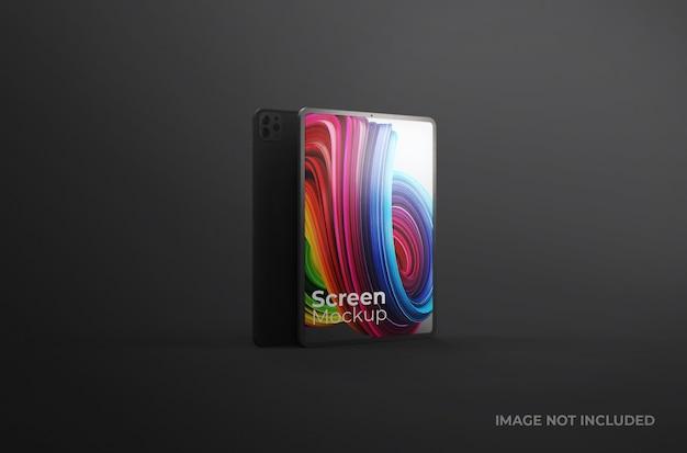 Maquete da tela do tablet digital preto isolada