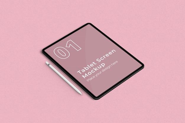 Maquete da tela do tablet e vista de ângulo esquerdo do lápis