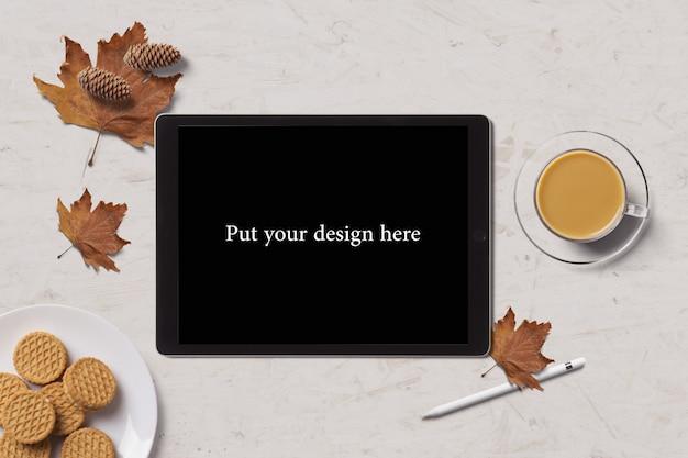 Maquete da tela do tablet vista superior