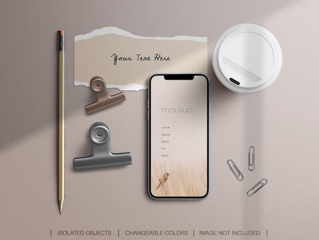 Maquete da tela do telefone e conjunto de colagem de papel rasgado