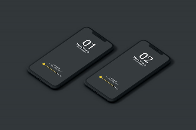 Maquete da tela do telefone escuro