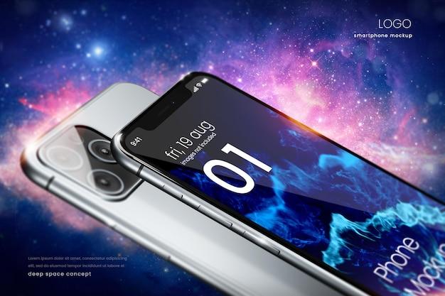 Maquete da tela do telefone no fundo do espaço