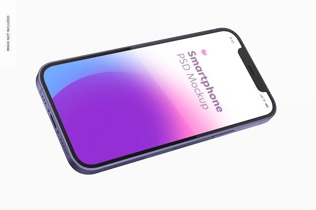 Maquete da versão roxa para smartphone, vista flutuante de paisagem