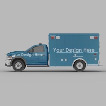 Maquete da vista lateral da ambulância isolada