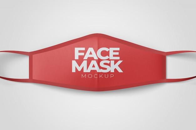 Maquete da vista superior da máscara facial