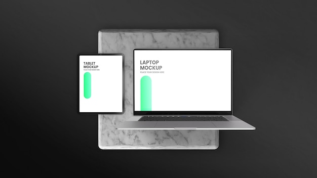 Maquete da vista superior do laptop e tablet