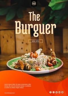 Maquete da web com conceito de hambúrguer
