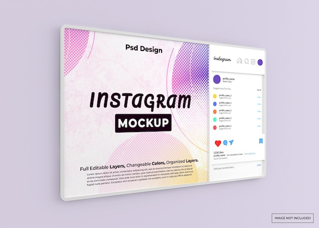 Maquete da web do instagram isolada