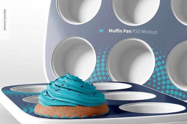 Maquete das bandejas de muffin, close-up