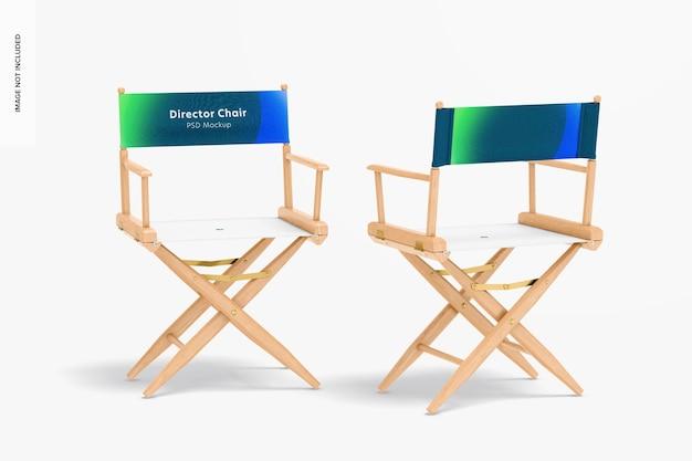 Maquete das cadeiras do diretor, vista frontal e traseira