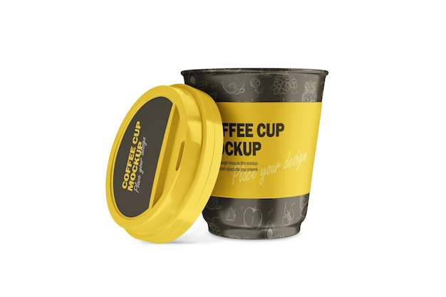 Maquete de 3d termo cup com tampa de plástico aberta