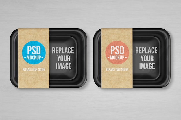 Maquete de alimentos a vácuo de bandeja de plástico