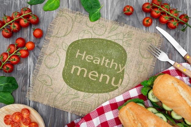 Maquete de alimentos saudáveis