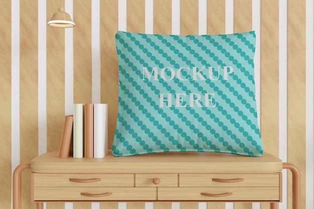 Maquete de almofada de travesseiro único na mesa