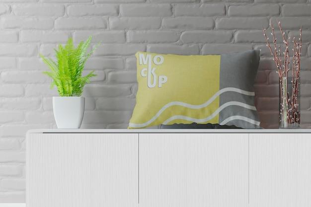 Maquete de almofada em sala de estilo escandinavo