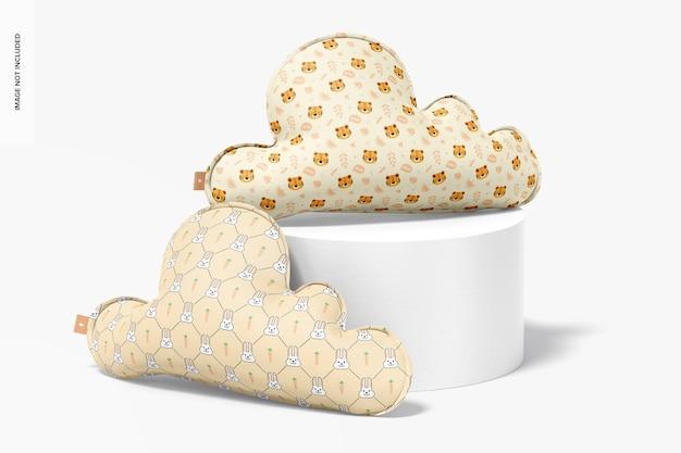 Maquete de almofadas de nuvem, vista frontal