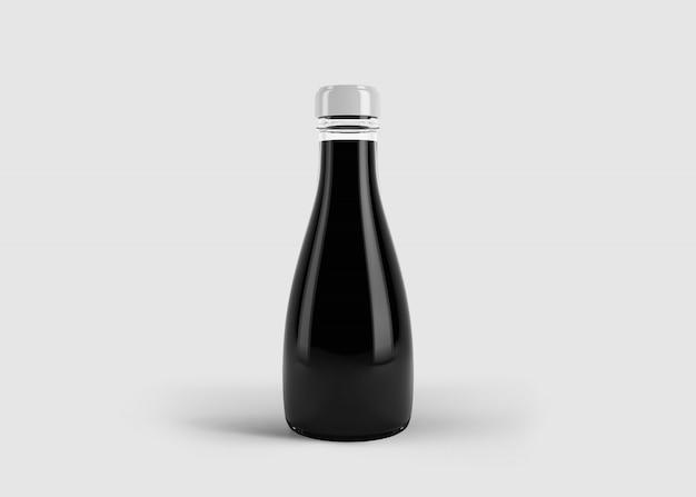 Maquete de alto suco elegante ou garrafa de molho com etiqueta personalizada em cena de estúdio limpo