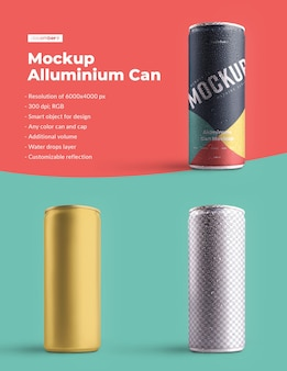 Maquete de alumínio pode 250 ml com gotas de água. o design é fácil de personalizar o design das imagens (na lata), cor de fundo, reflexo editável, lata e tampa colorida, gotas de água