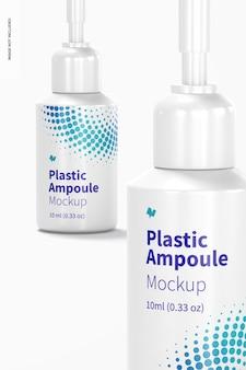 Maquete de ampolas de plástico de 10 ml, close-up