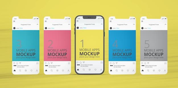 Maquete de aplicativos de exibição móvel
