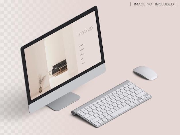 Maquete de apresentação da tela do site do dispositivo do monitor do computador pc com visualização isométrica de mouse e teclado