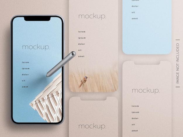 Maquete de apresentação de tela de aplicativo de smartphone com vista superior da caneta stylus isolada