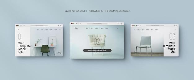 Maquete de apresentação do site isolada