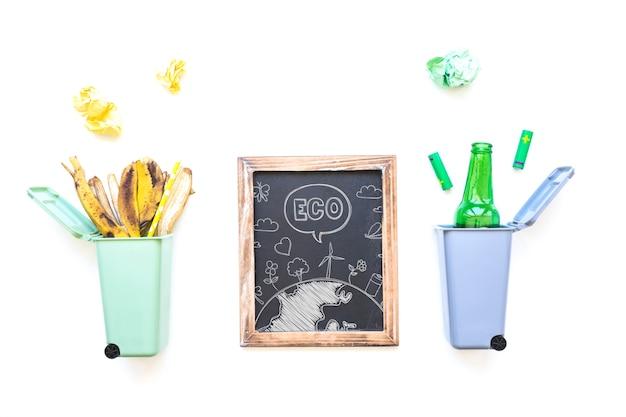 Maquete de ardósia com conceito de reciclagem