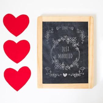 Maquete de ardósia para dia dos namorados