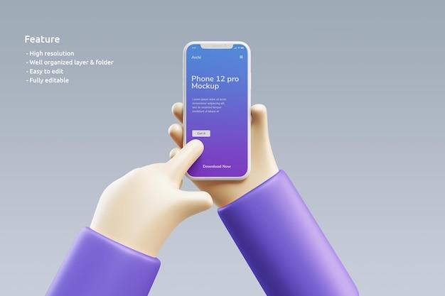 Maquete de argila de smartphone com uma mão 3d fofa segurando-o